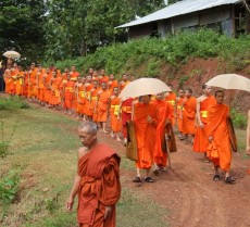 Monks and novices walk to the temple for a ceremony
